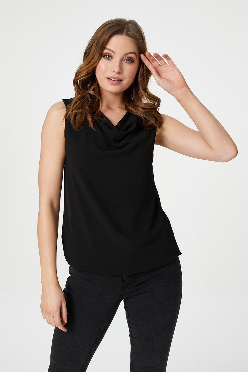 Black | Cowl Neck Vest Top
