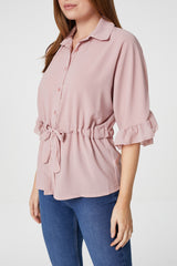 Pink | Tie Waist Button Front Sheer Shirt