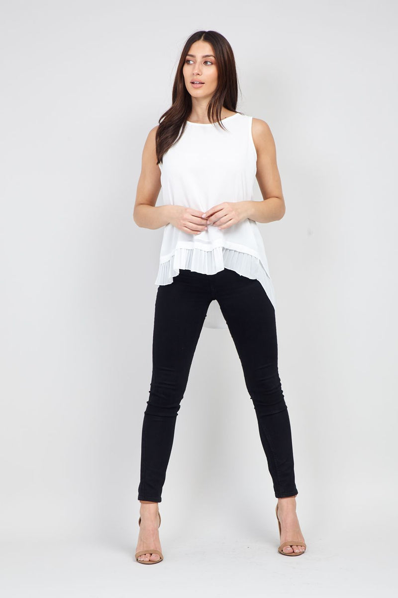 White | Layered Hem Vest