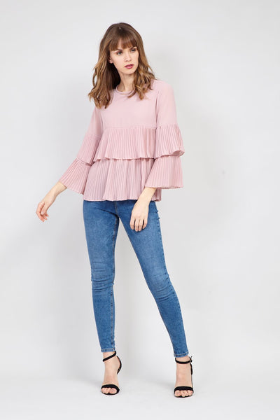 Ruffle Sleeve Layered Blouse - Izabel London