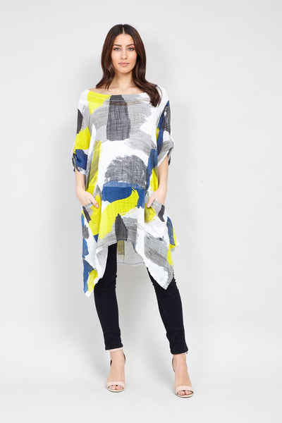 | Abstract Watercolour Print Tunic Top | Izabel London