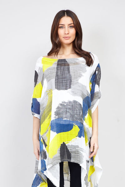 Yellow | Abstract Watercolour Print Tunic Top | Izabel London