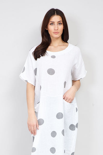 | Polka Dot Longline Linen Top | Izabel London