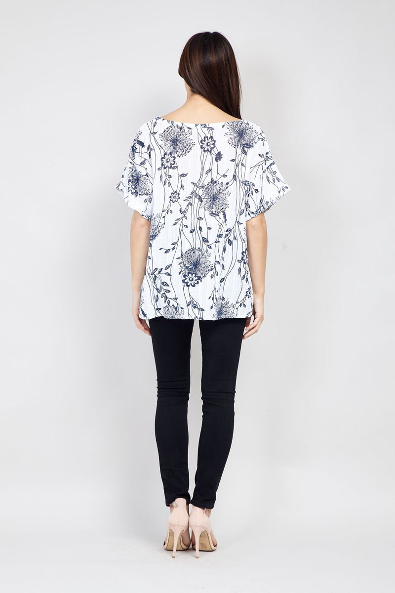 White | Floral Lightweight Tee
