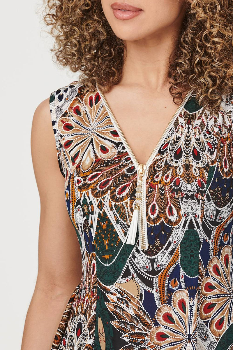 Green | Zip Front Peacock Print Top