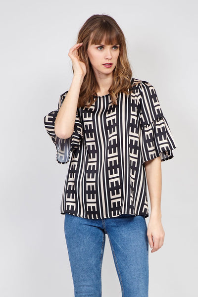 Frill Sleeve Oversized Blouse - Izabel London