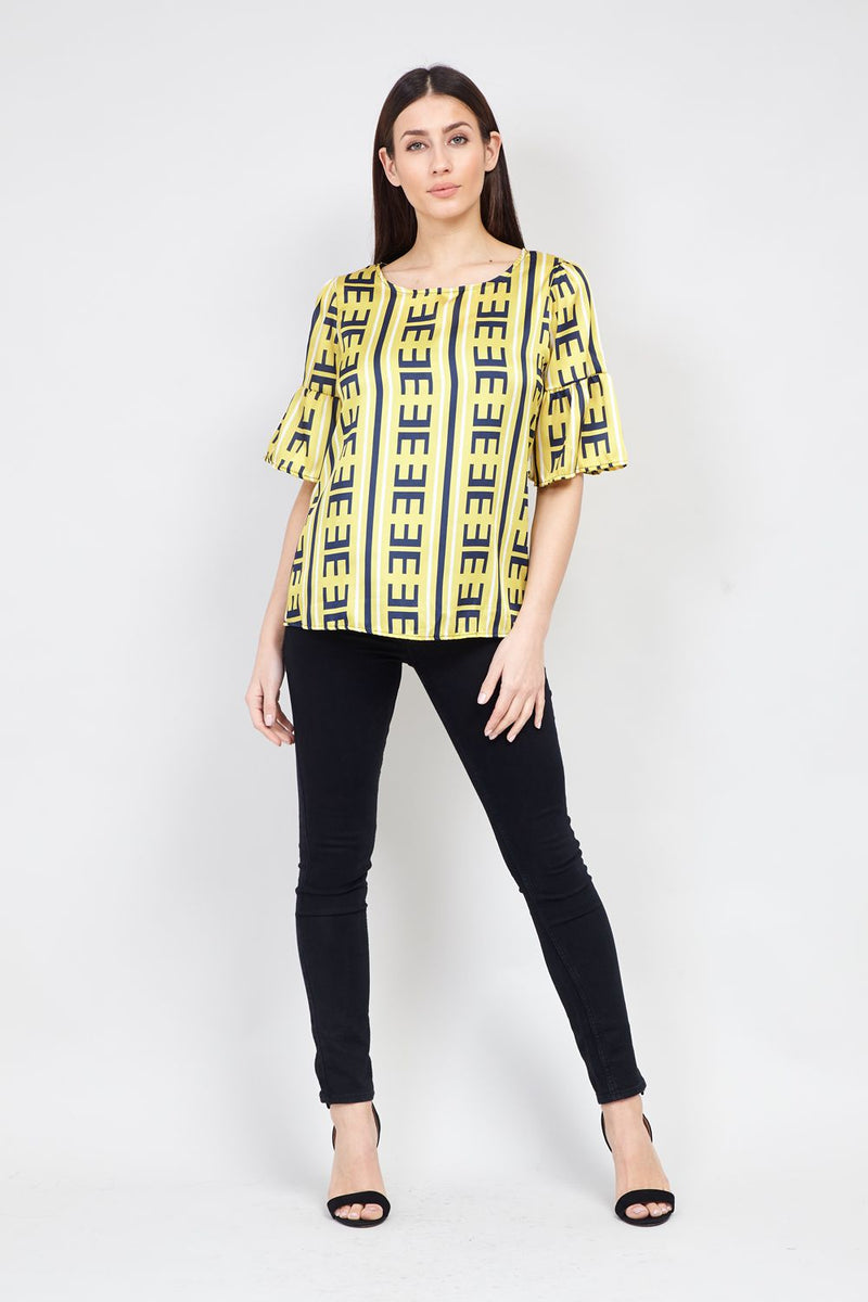 Yellow | Frill Sleeve Oversized Blouse