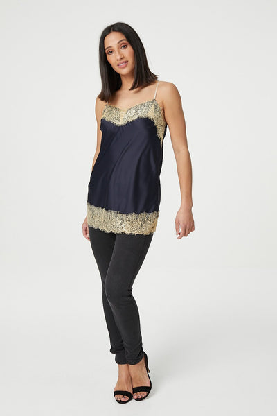 Navy | Lace Trim Cami Top
