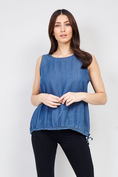 Blue | Tie Side Denim Sleeveless Top