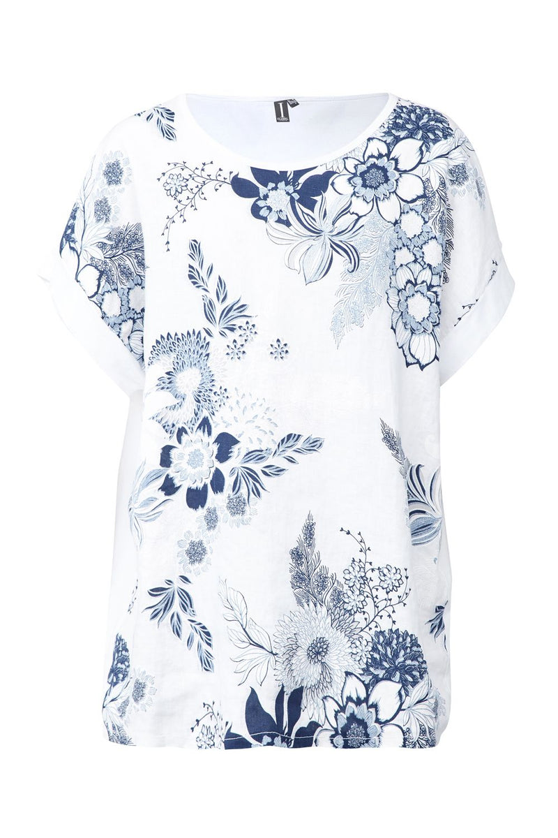 White | Floral Oversized Top