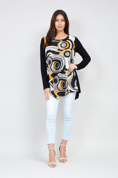 Circle Print Contrast Top - Izabel London