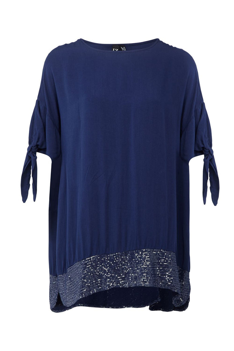 Blue | Sequinned Hem Longline Top