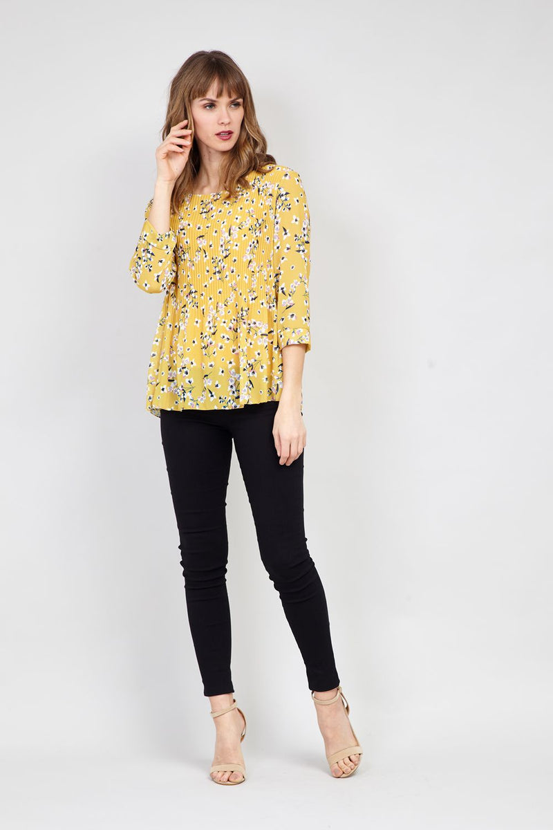 Yellow | Pleated Floral Blouse