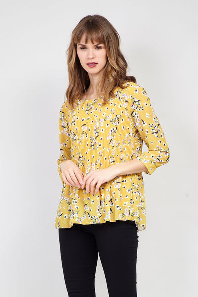 Pleated Floral Blouse - Izabel London