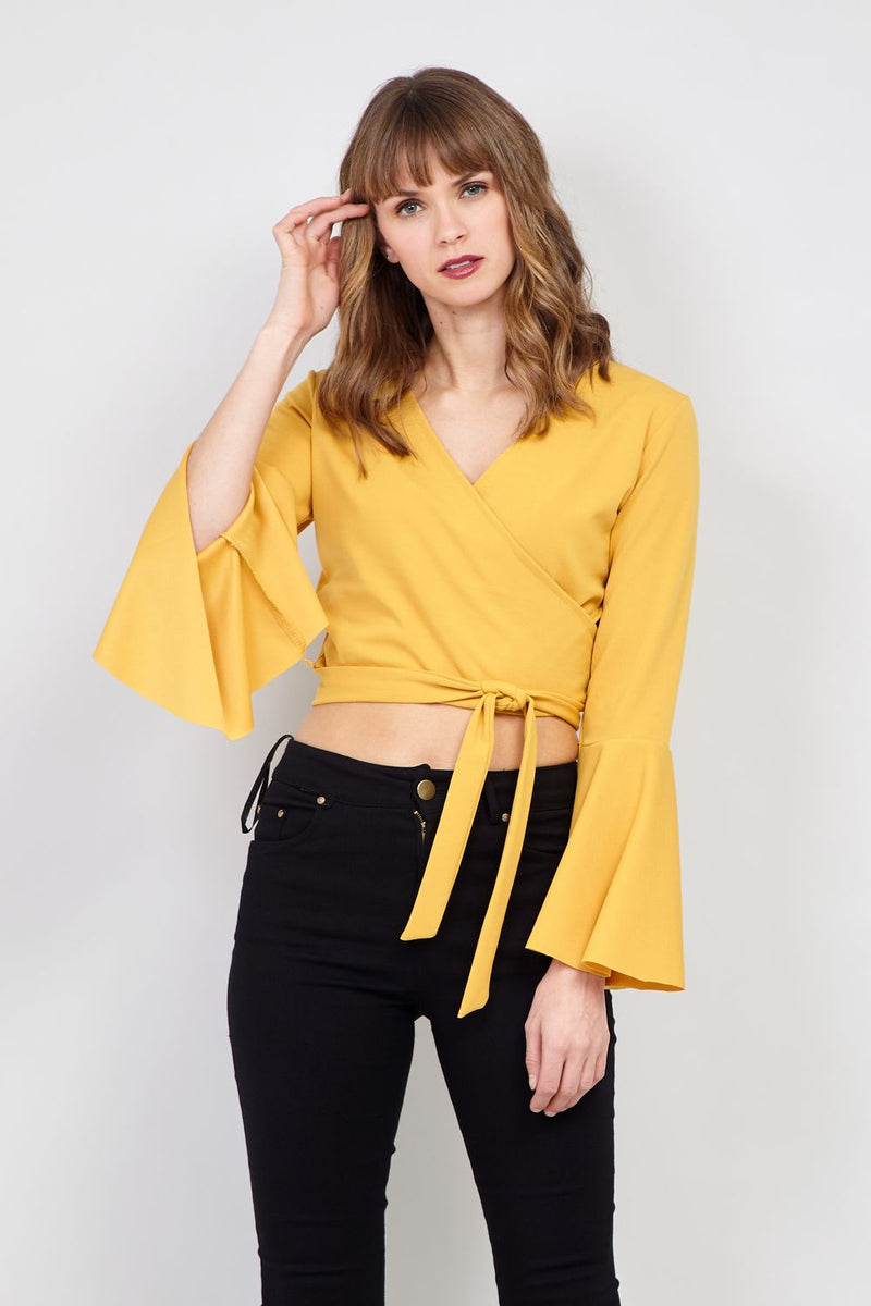 Yellow | Wrap Front Crop Top