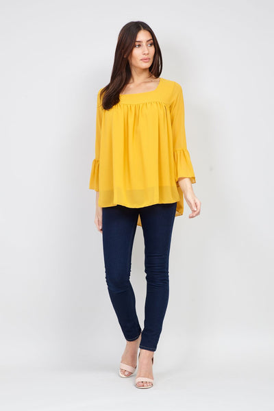Yellow | Flute Sleeve Peasant Top