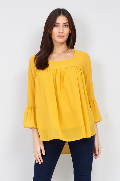 Flute Sleeve Peasant Top - Izabel London