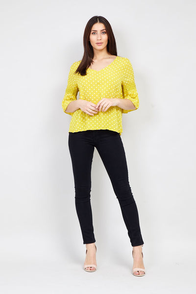 Yellow | Polka Dot Blouse