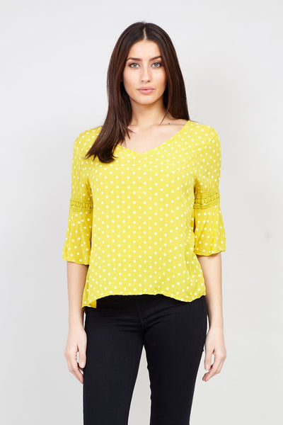 Yellow | Polka Dot Blouse | Izabel London
