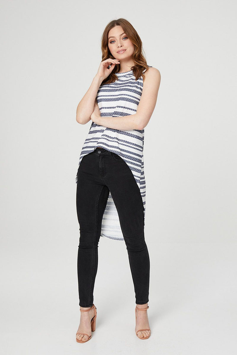 Striped Drop Hem Top