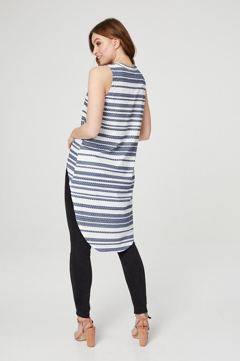 Navy | Striped Drop Hem Top