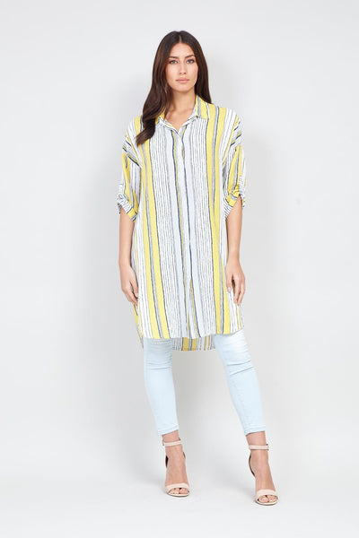 Striped Longline Shirt - Izabel London