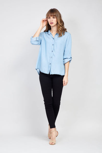 Denim Boxy Shirt - Izabel London