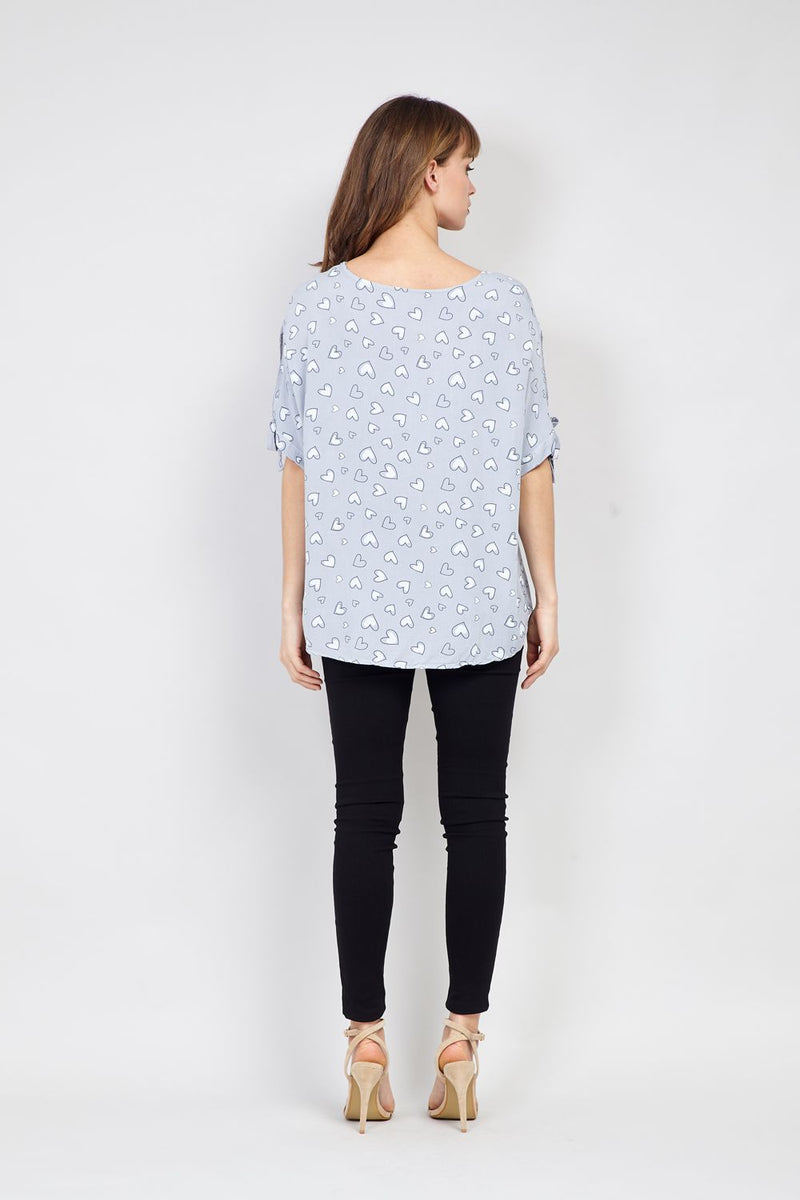 Grey | Heart Print Blouse