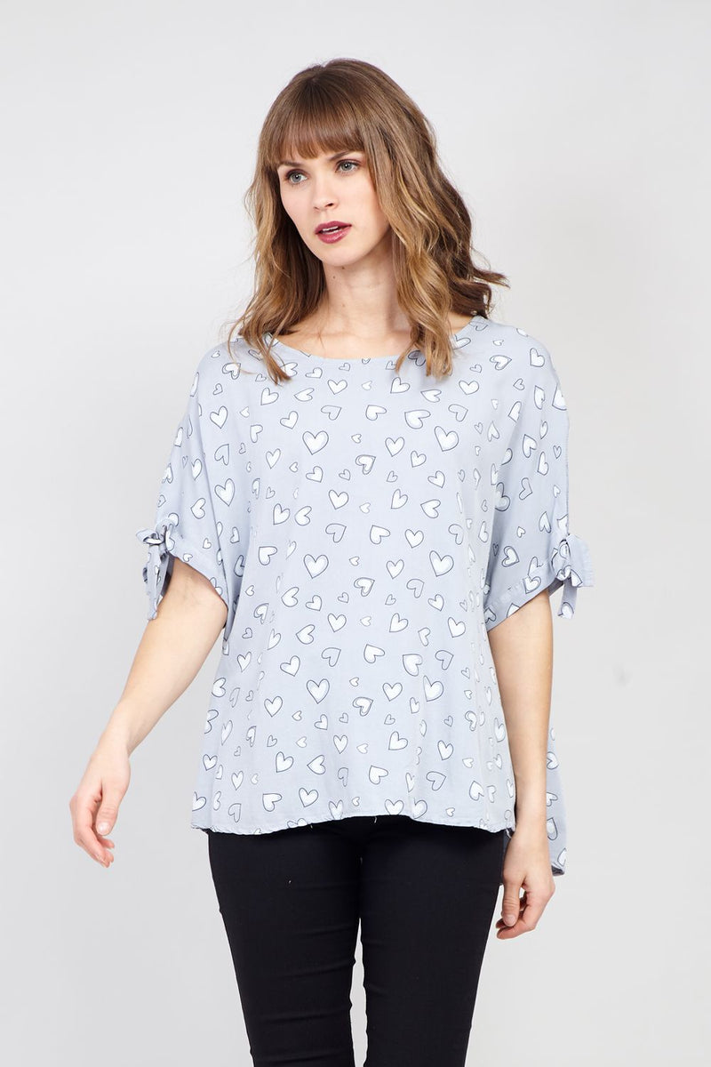 Light Grey | Heart Print Blouse