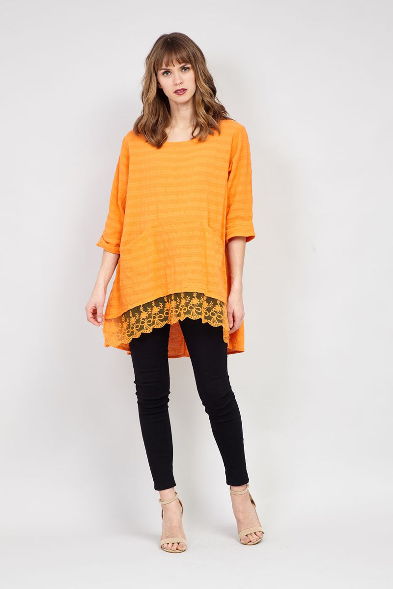 Mustard | Striped & Crochet Tunic Top
