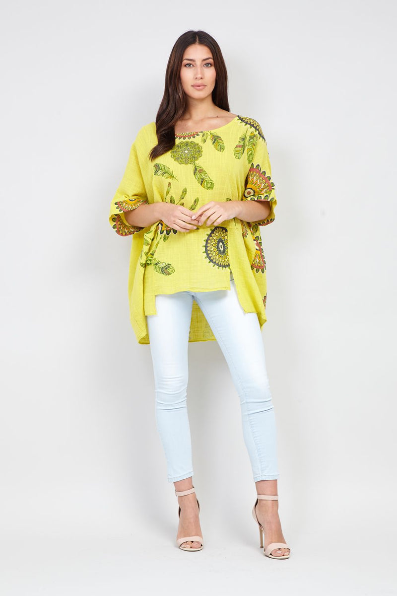 Yellow | Eastern Print Top