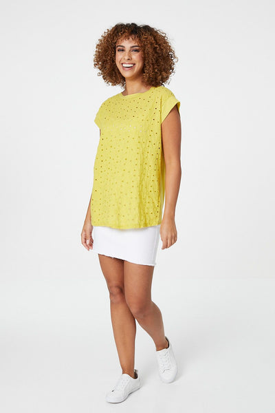 Yellow | Embroidered Front T-Shirt