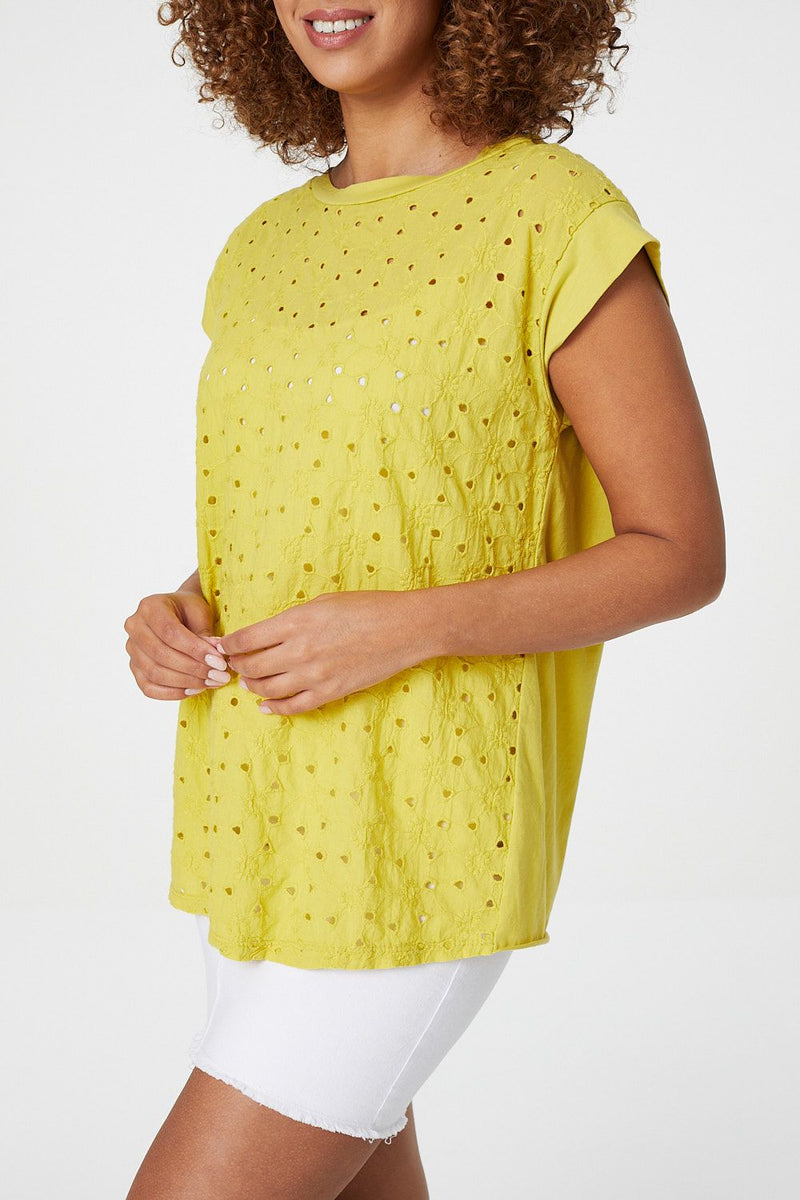Mustard | Embroidered Front T-Shirt