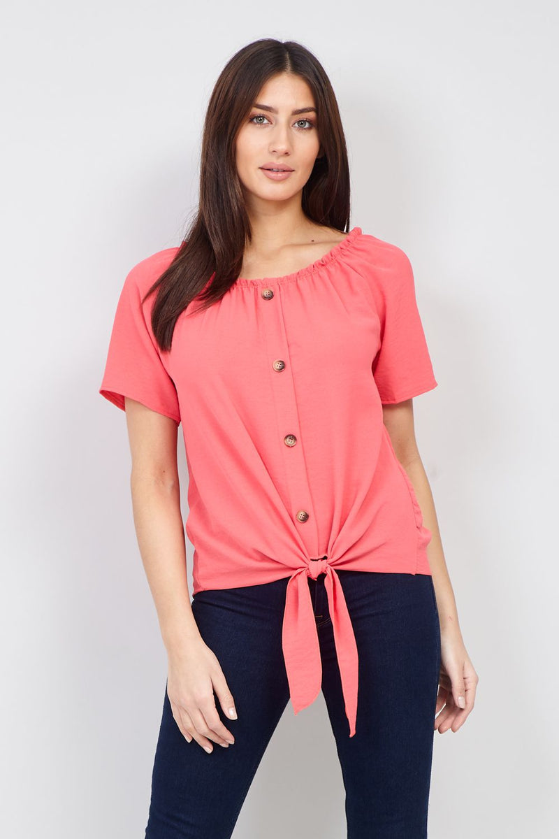 Coral | Knot Front Button Up Top