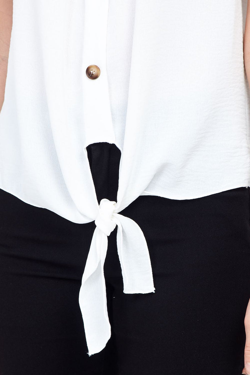 White | Knot Front Button Up Top