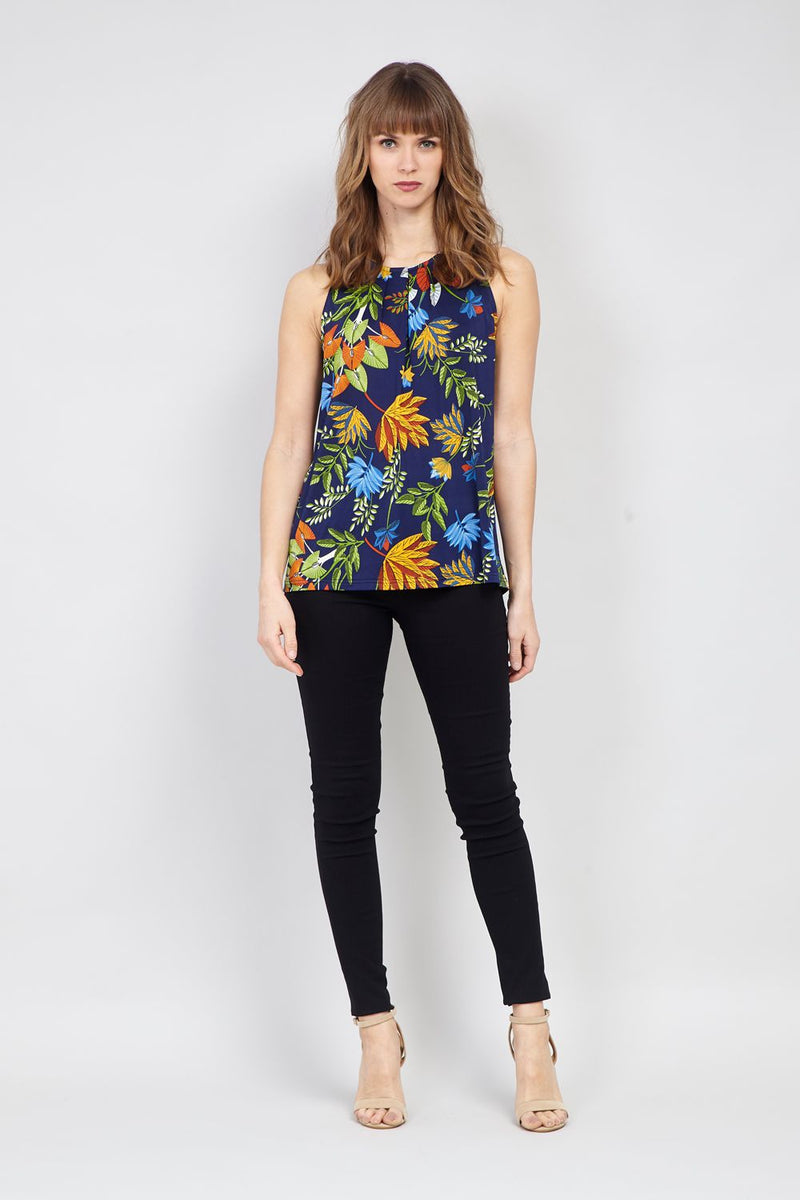 Navy | Leaf Print Vest Top