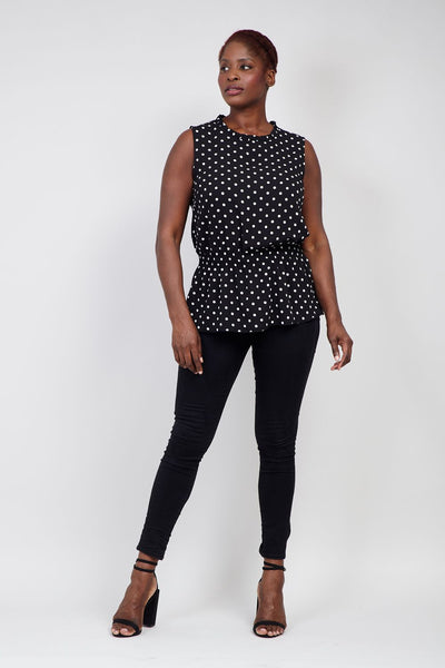 | Curve Polka Dot High Neck Top | Izabel London