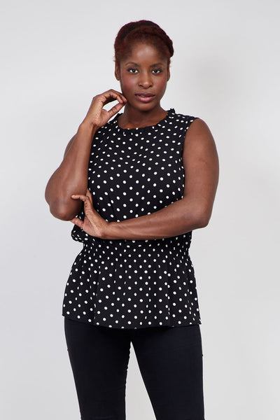Black | Curve Polka Dot High Neck Top | Izabel London