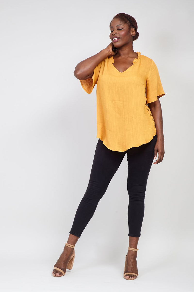 Tan | Curve Ruffle Neck Blouse