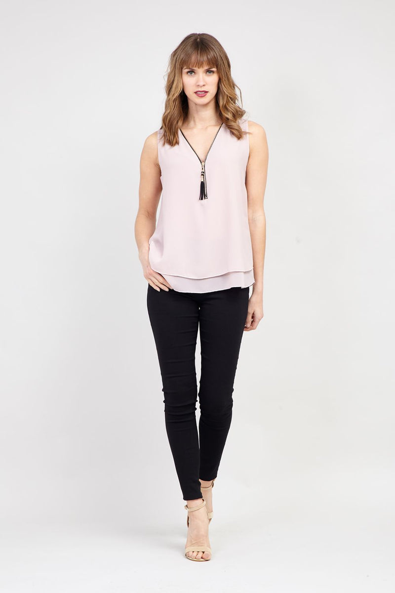 Pink | Zip Front Layered Hem Vest