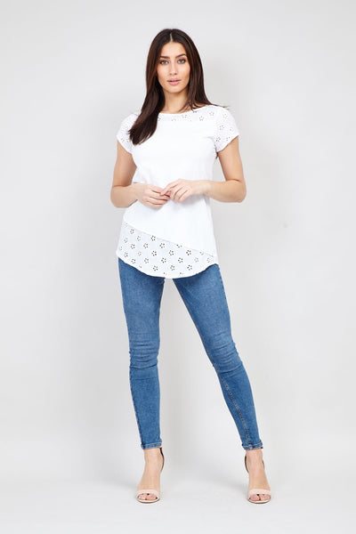 | Embroidered Hem Tee | Izabel London