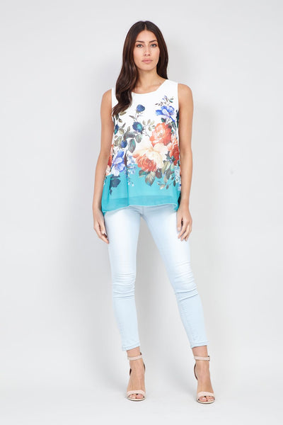 Floral Print Swing Vest - Izabel London