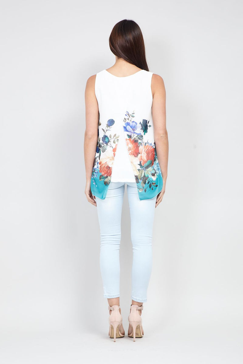 White | Floral Print Swing Vest