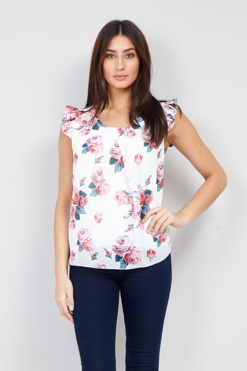 White | Floral Cap Sleeve Top