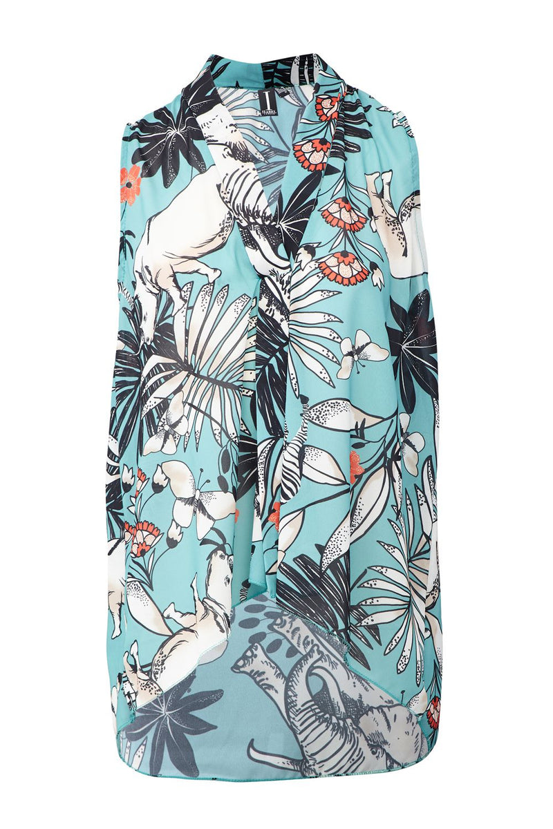 Teal | Tropical Print Collarless Blouse