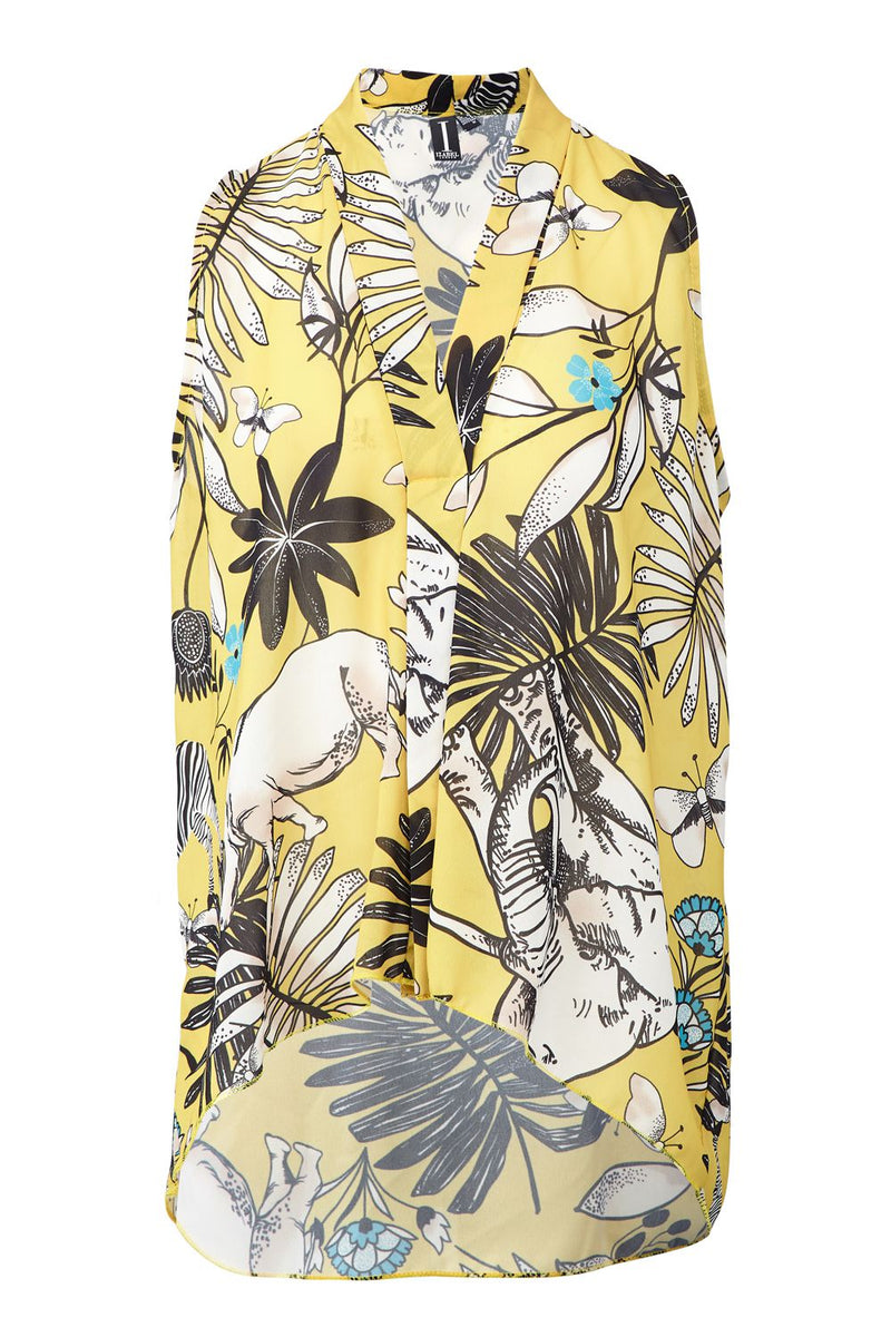 Yellow | Tropical Print Collarless Blouse
