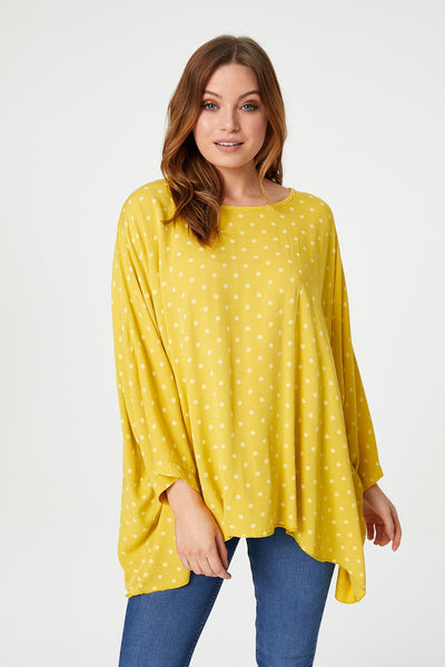 Yellow | Polka Dot Oversized Top | Izabel London