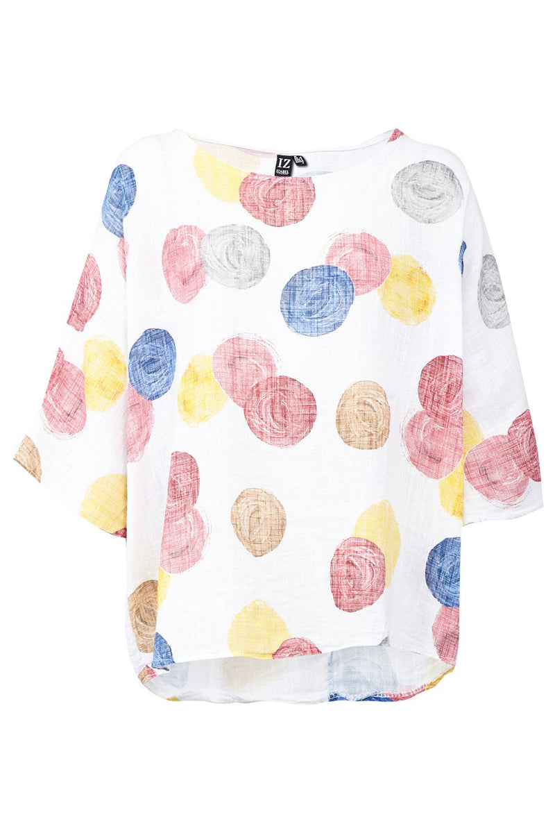 White | Colourful Dotty Top