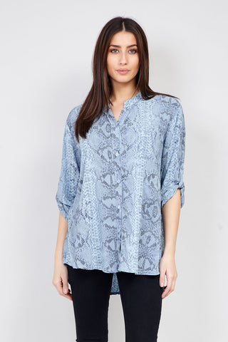 Curve Tropical Print Collarless Blouse