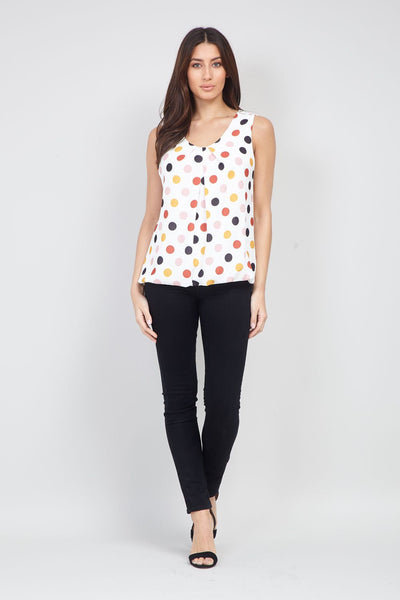 Polka Dot Sleeveless Blouse - Izabel London